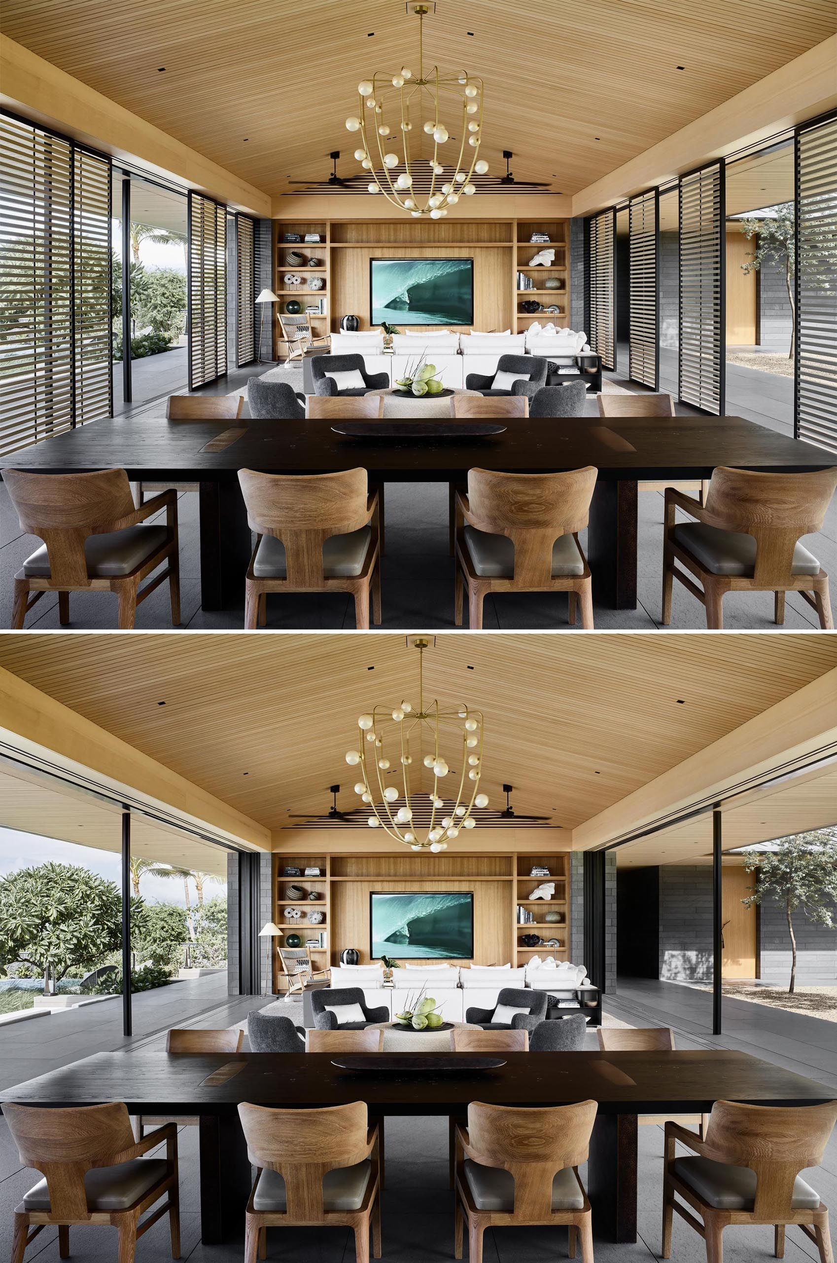 The Walls Of This Home Surrounding The Living Room Kitchen And Dining Room Disappear To Enable Indoor Outdoor Living Indoor Outdoor Living Living Room Kitchen Separating Rooms Living dining room meaning