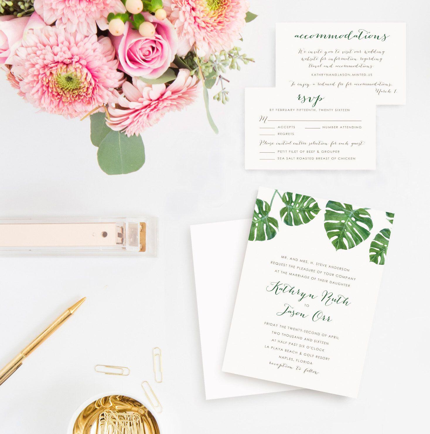Palm Leaf Destination Wedding Invitation Set Rsvp Cards And