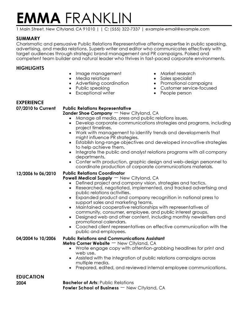 7 11 Public relations, Resume examples, Public relations