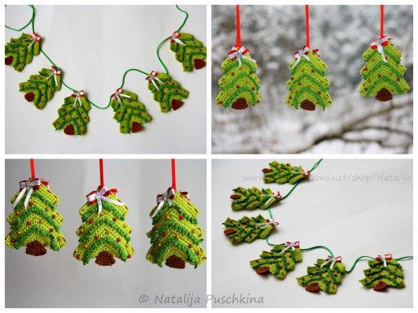 Weihnachtsbaum Girlande/Anhänger-DIY häkeln ☆ | Für Wollreste ...