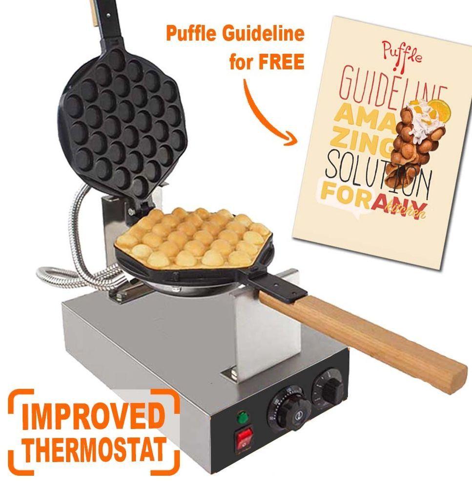Puffle Waffle Maker Professional Rotated Nonstick (Hong