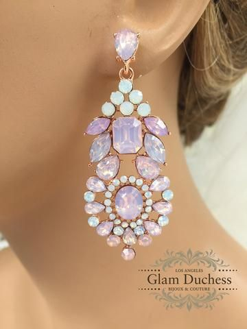 Bridal jewelry, Bridal earrings, Wedding jewelry, wedding earrings, Rose gold crystal earrings, Rose quartz earrings,  Pink evening earrings - Glam Duchess - 1. #model #stylish #jewelry #accessories #glam #fashionjewelry #gorgeous #glamour #elegant #crystal #LA #chic #party #fashion #indulge #wedding #bridal #bride #engagement  #bridaljewelry #weddingjewelry #womensfashion http://glamduchess.com/collections/wedding-earrings?page=2