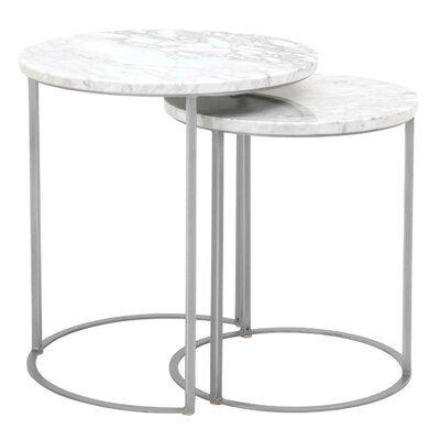 Everly Quinn Gurdon 2 Piece Nesting Tables Nesting Tables Marble Top End Tables Marble End Tables