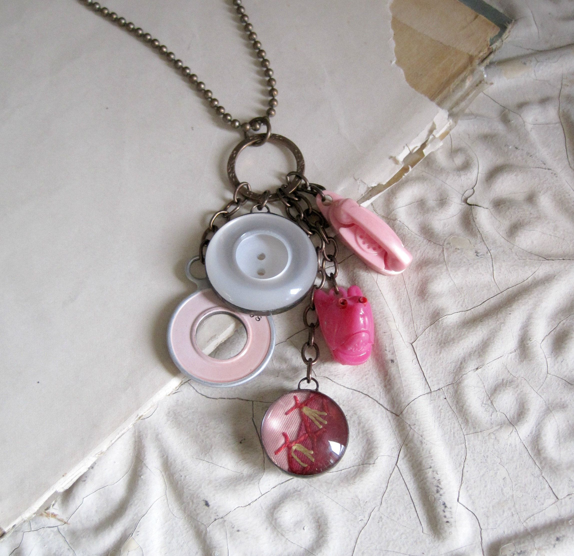 Triangle Movie Film Necklace Soldered Glass OOAK Jewelry