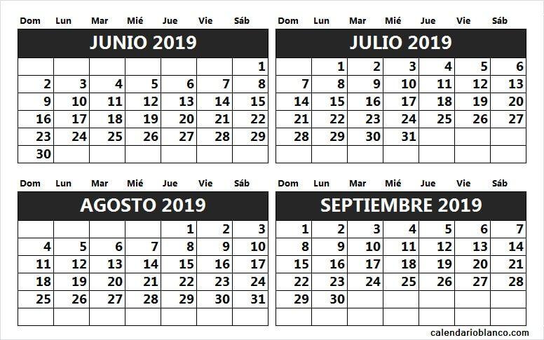 Calendario 2019 Julio Agosto Y Septiembre.Calendario Junio Julio Agosto Septiembre 2019 Calendario