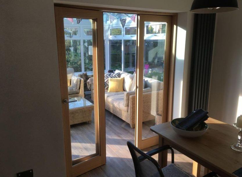 Inspire 1 8m Internal Bifold Flat Folding Doors Access Door Open
