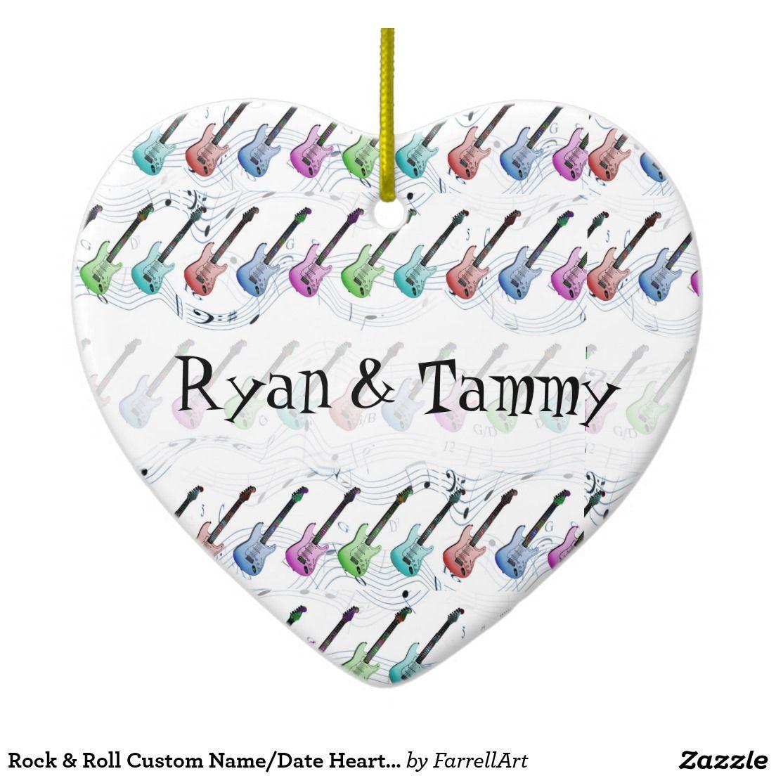 Custom name ornaments - Rock Roll Custom Name Date Heart Ornament