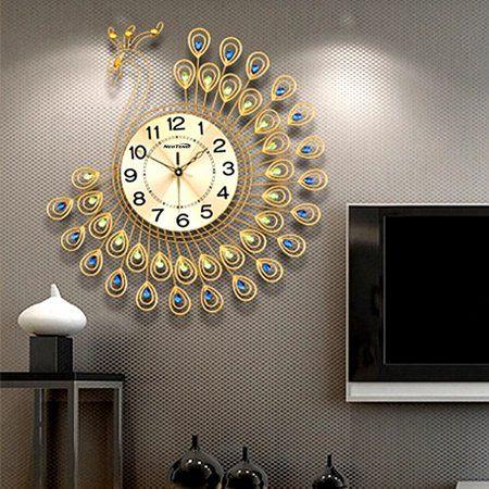 Large 21 3d Metal Silent Wall Clock Gold Peacock 40pcs Diamonds Decorative Clock Home Decor Diameter Glow In Dark Walmart Com Clock Decor Clock Wall Decor Wall Clock Modern