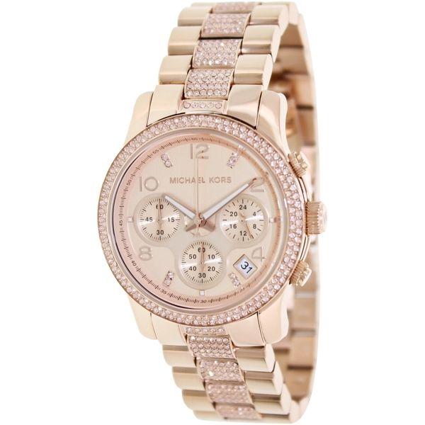 Michael Kors Women s Glitz MK5827 Rose-Gold Stainless-Steel Quartz Watch  with Rose- e53d91b654