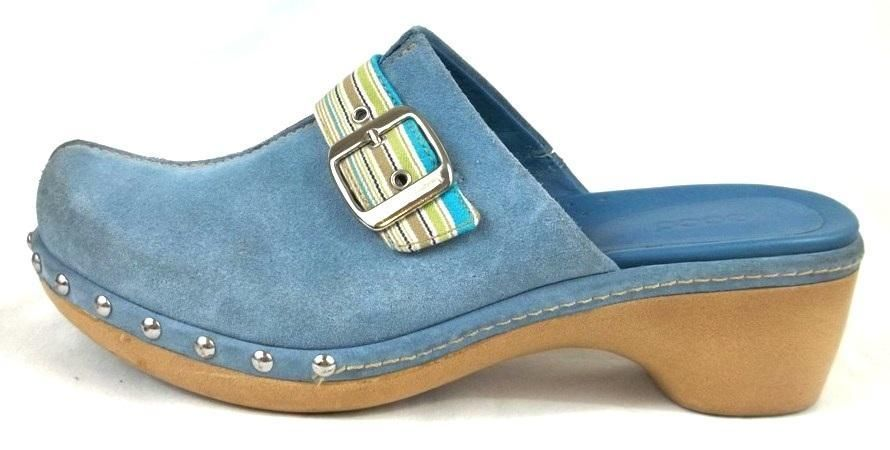 Ecco Clog Loafers Solid Blue Suede Slide On Shoes Womens Size US 8 8.5 B EUR 39 #ECCO #Clogs