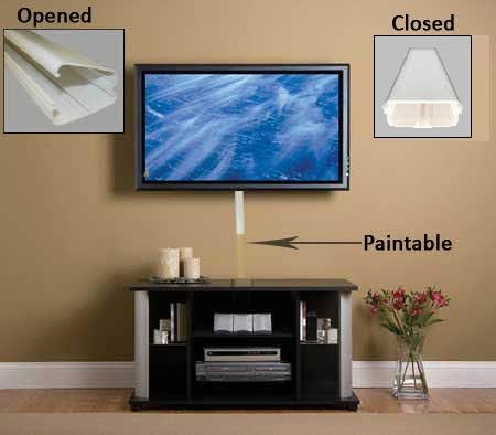 Hinged Lid Cable Raceway Wall Mounted Tv Wall Mounted Tv Decor Tv Wall