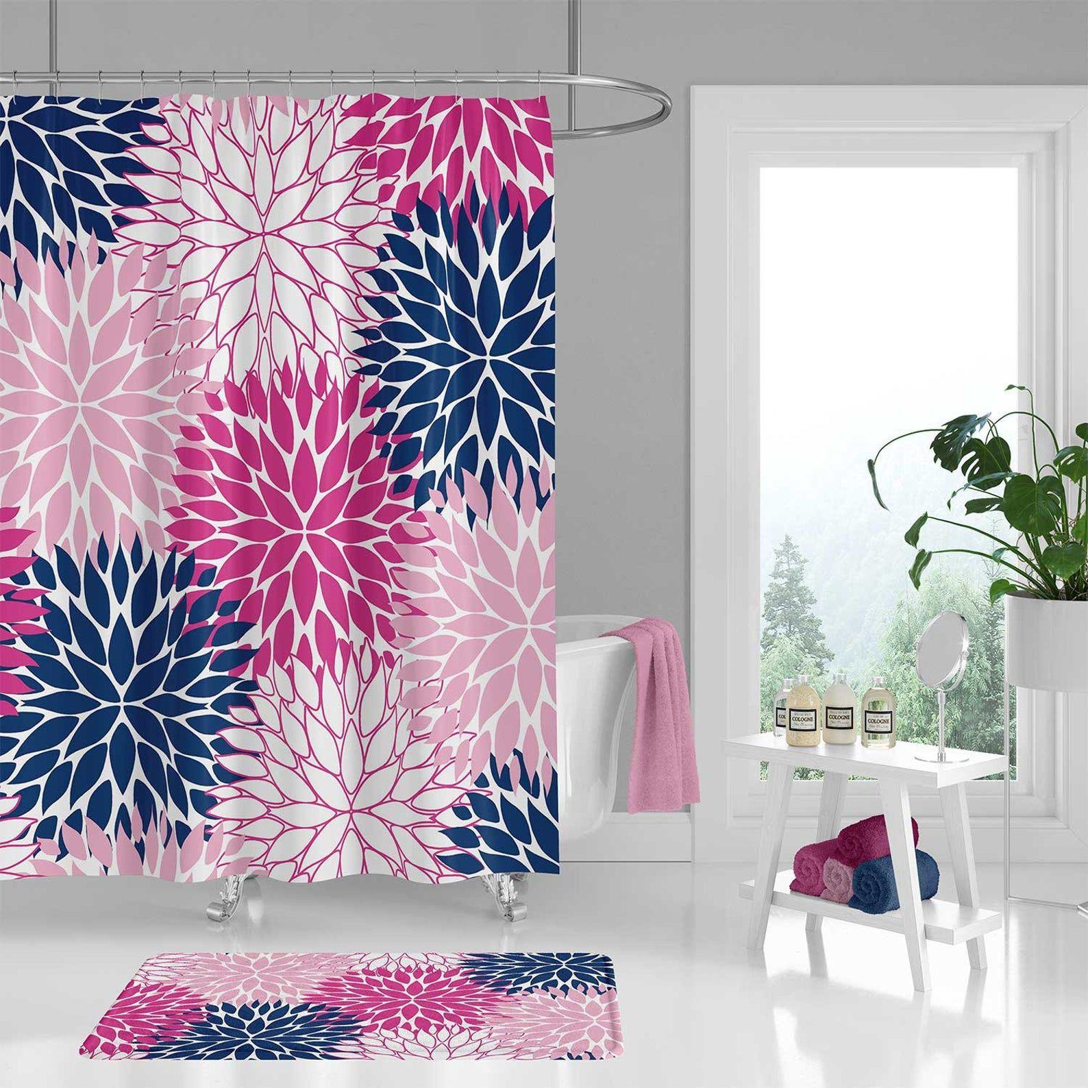 Hot Pink and Blue Shower Curtain Set, Fuchsia Bath Mat ...