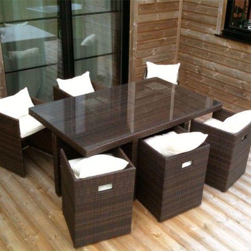 Salon de jardin résine tressé avec 6 fauteuils Chocolat ...