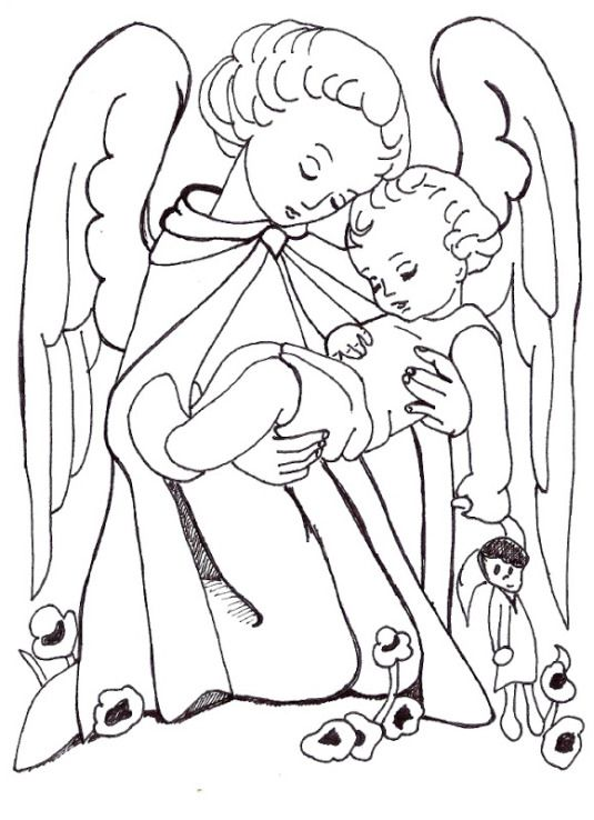 Angel With Praying Child Coloring Page Angel Coloring Pages