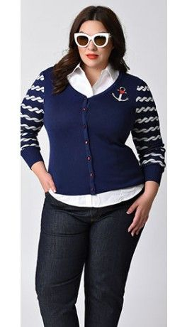 Hell Bunny Plus Size Navy Nautical Long Sleeve Harbor Knit Button Up Cardigan