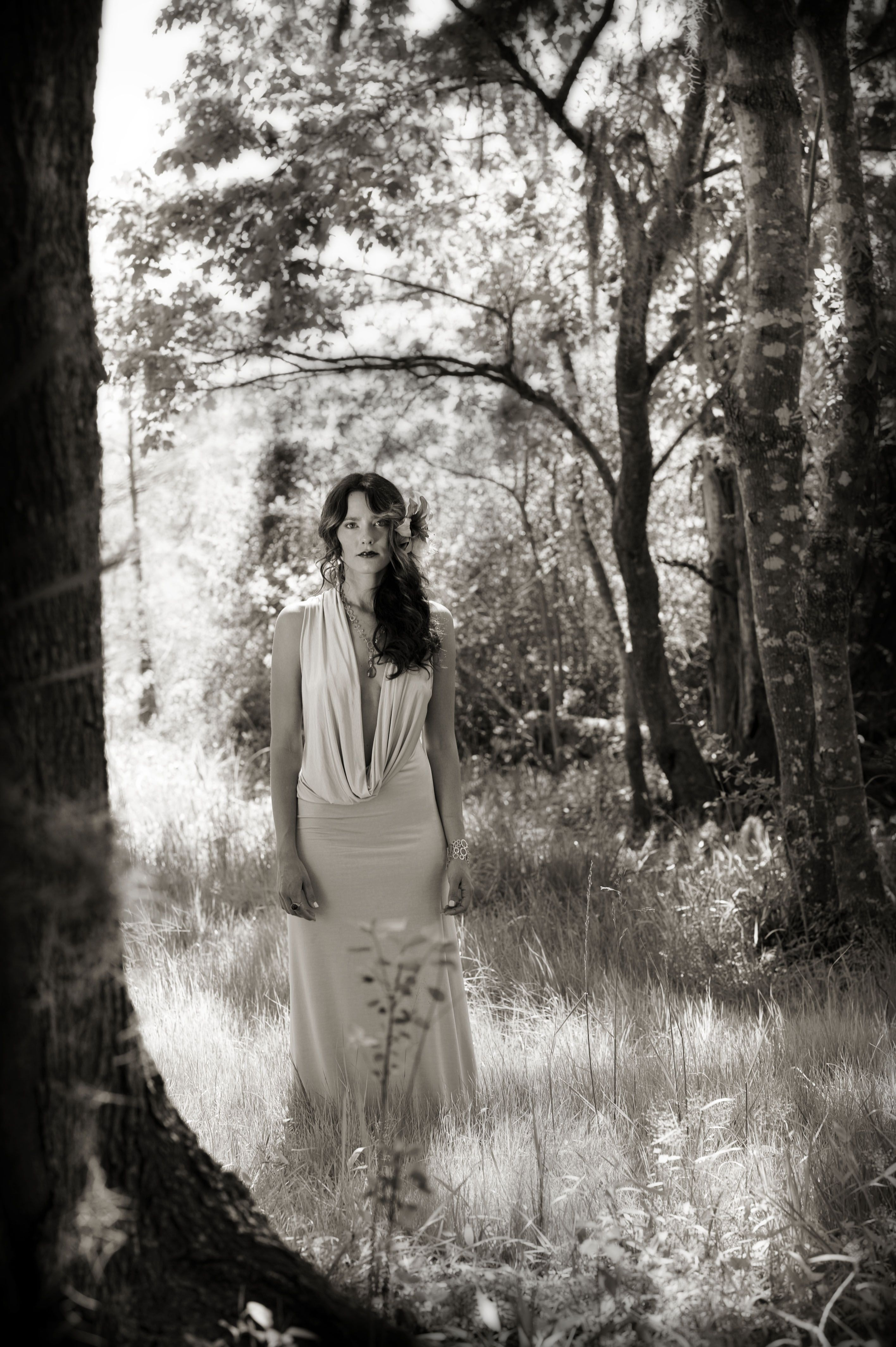 Nature wedding dress  One Love by Rachel Gordon Photographed in nature by Sarah Poe