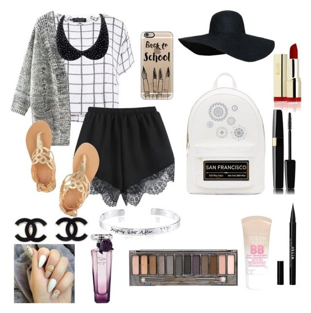 """""""First day"""" by xoxomakeupqueenxoxo on Polyvore featuring Myne, Ancient Greek Sandals, Casetify, PB 0110, WallPops, ArteHouse, Disney, Stila, Maybelline and Urban Decay"""