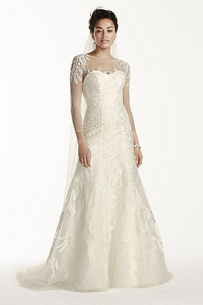 Oleg Cassini Lace Wedding Dress with 3/4 Sleeves CWG704 | Divine ...