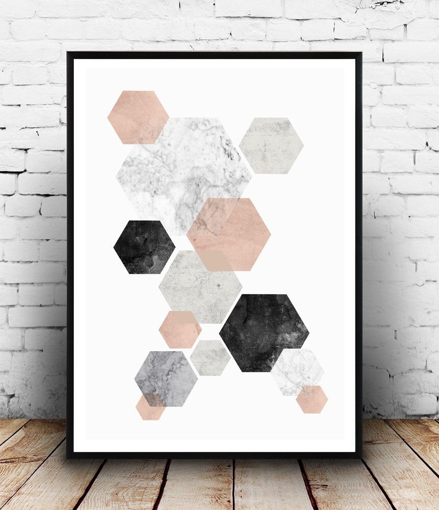 Abstract watercolor, pink gray print, marble print, nordic design ...
