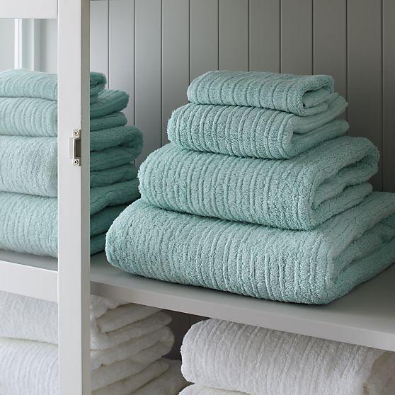 Charisma Bath Towels Seafoam: Broad Borders Of Vertical Ribbing With Flat Banded Edges