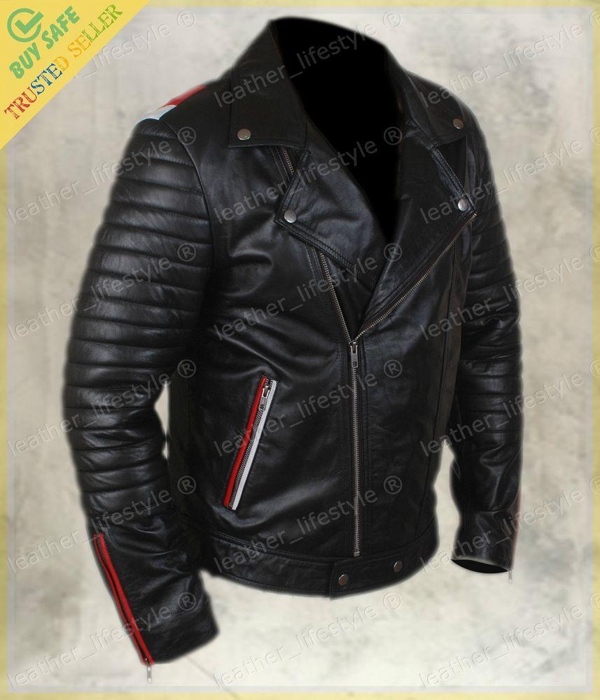 Genuine Cowhide Leather Ribbed Cafe Racer Biker Motorcycle Jacket