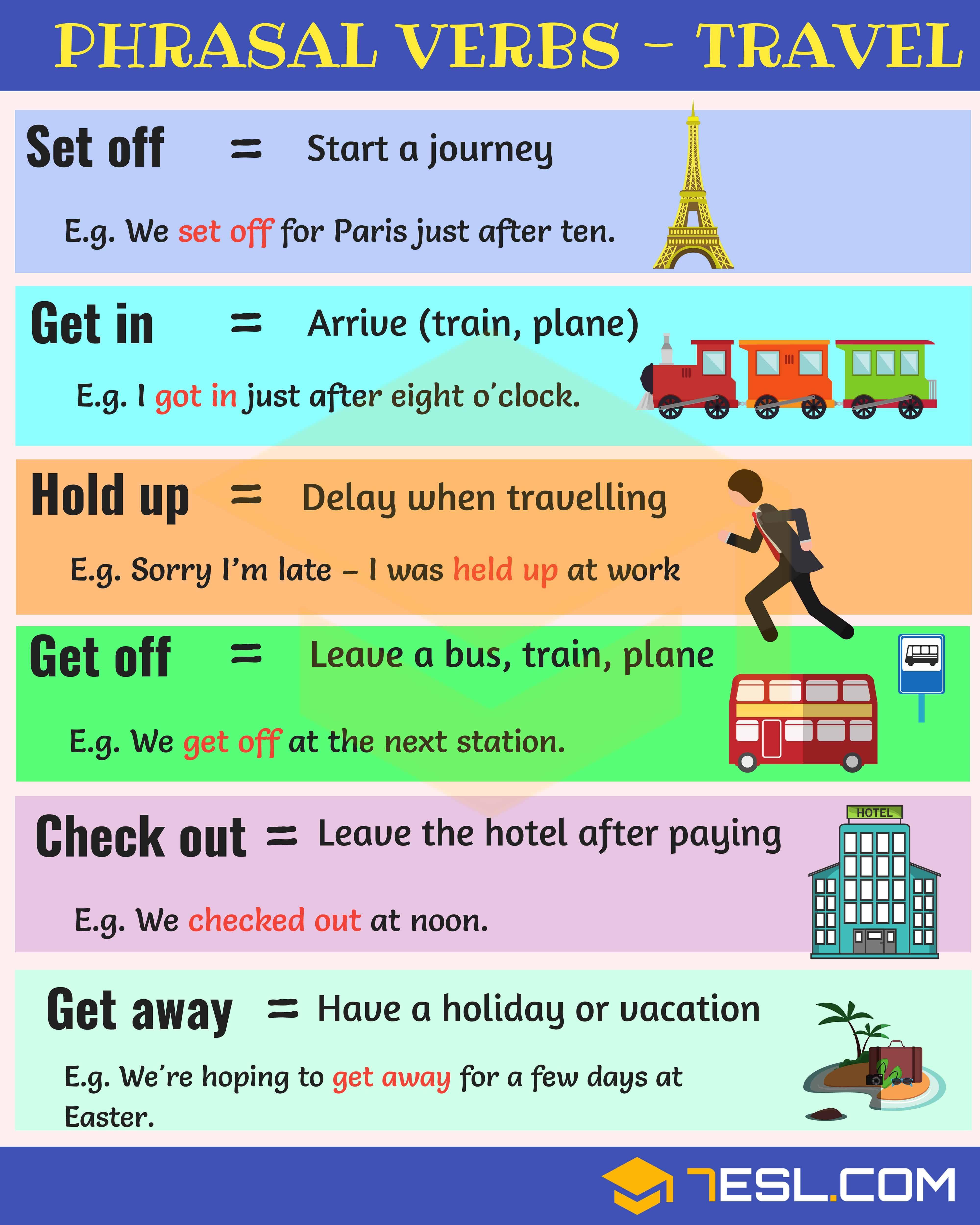 19 Useful Phrasal Verbs For Travel In English 7esl Learn English Travel English English Grammar Book [ 5000 x 4000 Pixel ]
