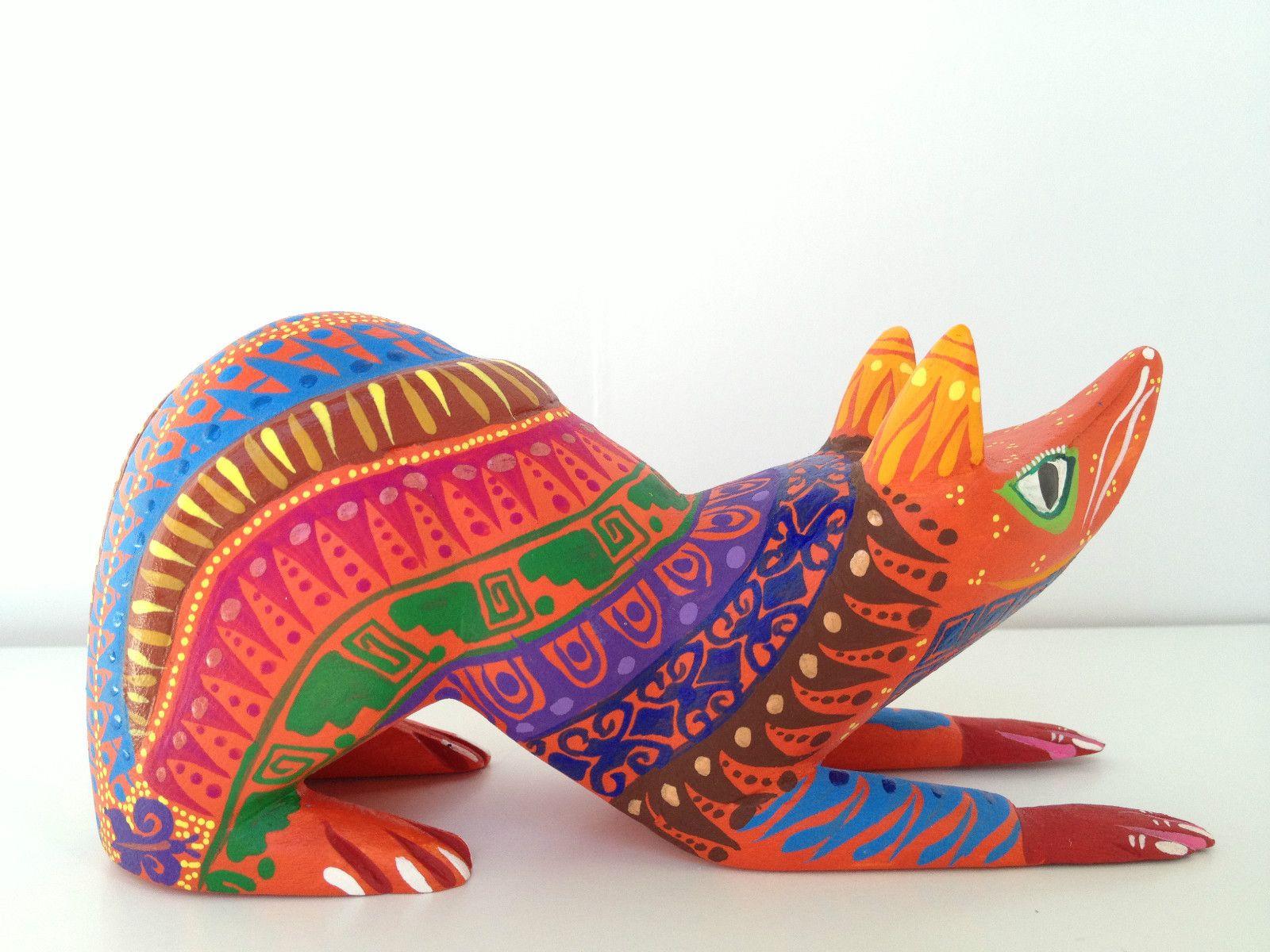 Oaxacan wood carved alebrije possum by zeny fuentes ebay folk