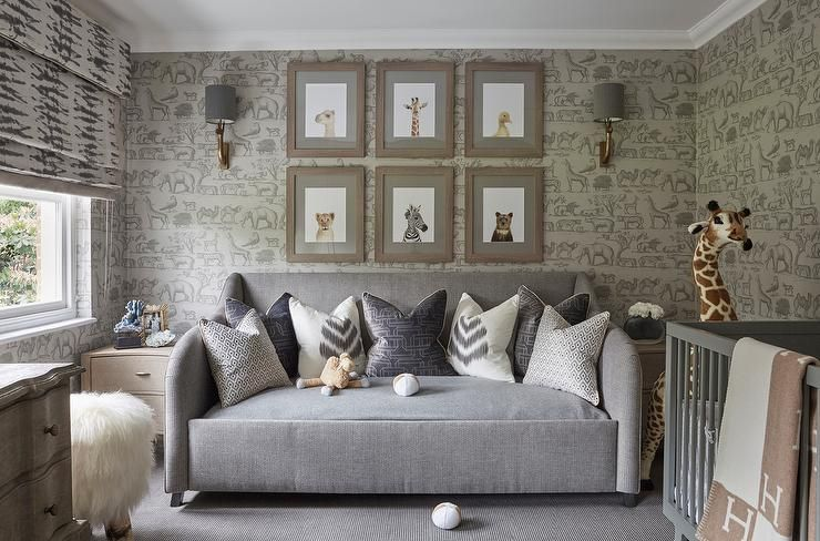 Gray Nursery Daybed with Baby Animals Photographs, Transitional, Nursery