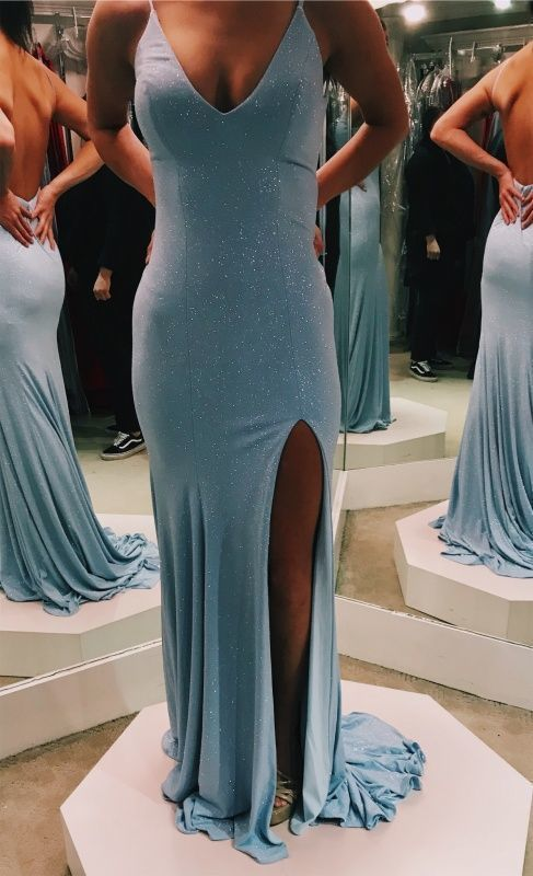Prom Dresses Elegant,mermaid v neck silt prom dresses 2709
