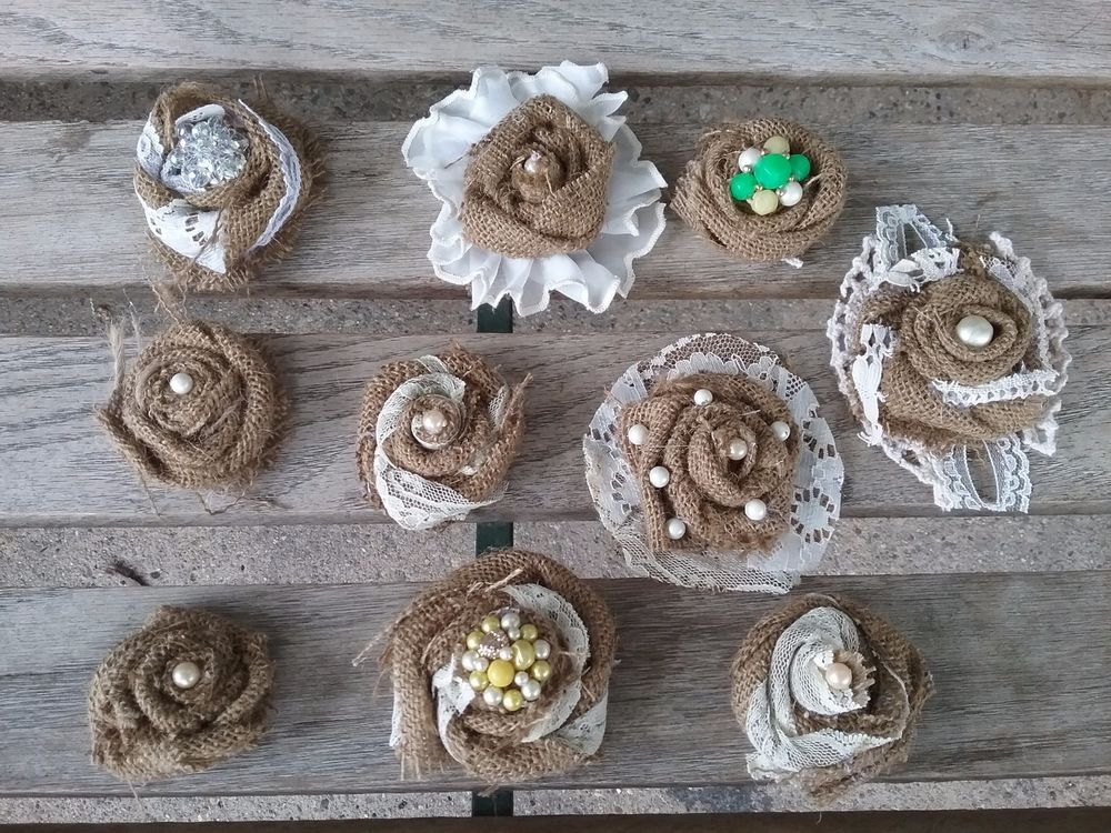 Lot 10  shabby to chic burlap and lace flowers with pearl centers OOAK vintage j #Handmade
