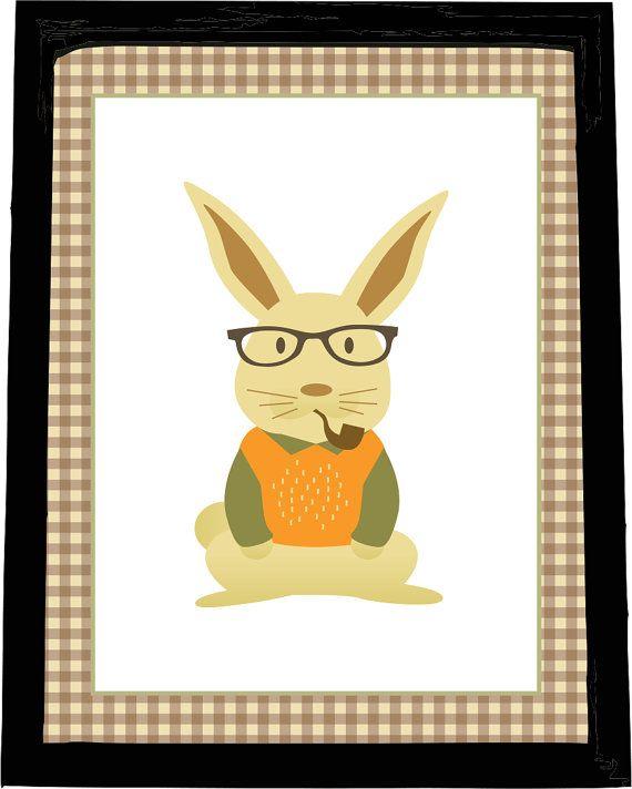 Modern Nursery Wall Art Hipster Bunny by LittleLillyBugDesign ...