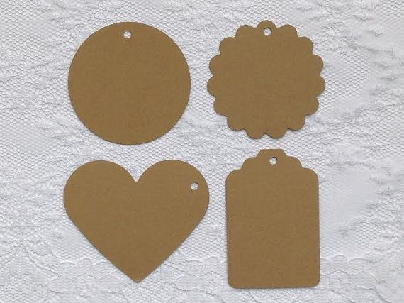 25 MOCHA BROWN Heart Scalloped Circle Hang Tag Shape Cardstock Paper Gift Tags by PorcupineSpines