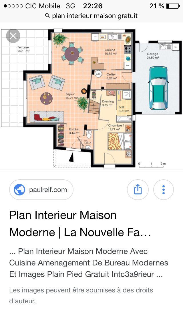 Plan de maison Amandine G 90 Design  Vignette 1 Maisons Pinterest - plan de maison en l de plain pied gratuit