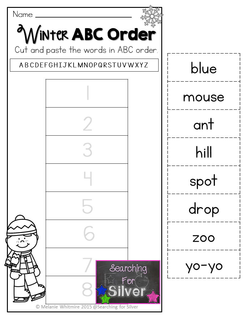 Winter Abc Order And Other Fun And Engaging No Prep Printables For First Grade Abc Order Teaching Vowels Library Skills [ 1056 x 816 Pixel ]