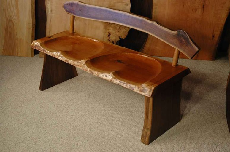Terrific Walnut And Cherry Slab Bench With Carved Seat In 2019 Inzonedesignstudio Interior Chair Design Inzonedesignstudiocom