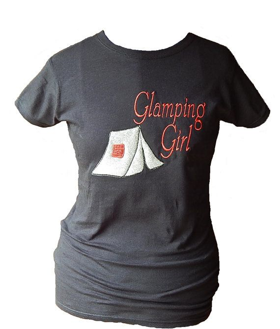 ecd74a110f Women's Glamping Girl Tent camping t-shirt Glitter Embroidered by  LoveIndianaOutdoors