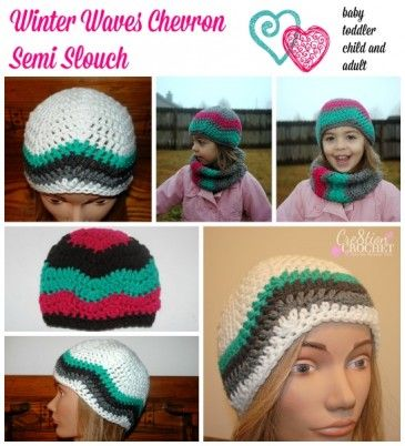 Winter Waves Chevron Semi Slouch free crochet hat pattern, sizes baby, toddler, child and adult #cre8tioncrochet