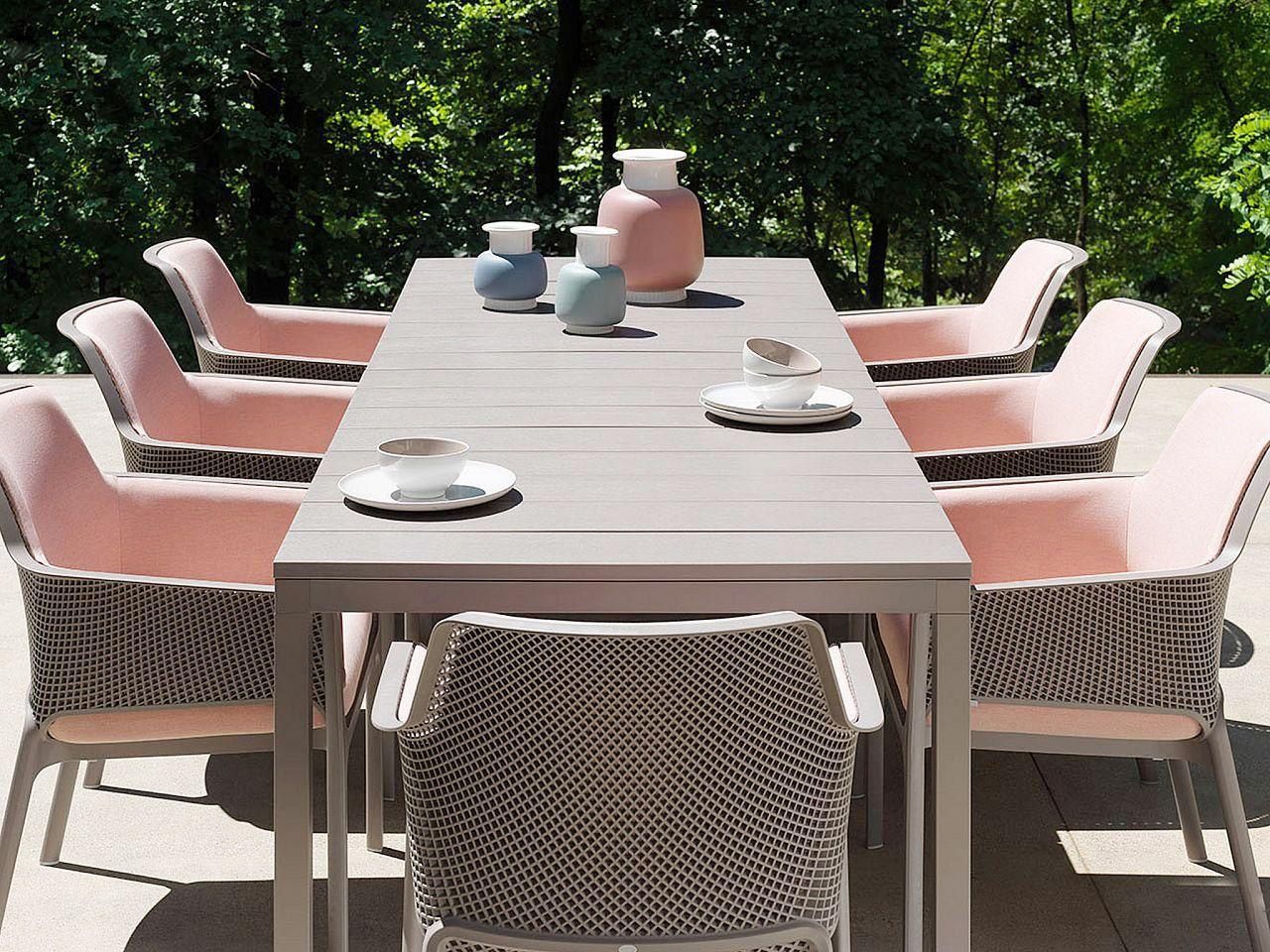 Nardi Mobili ~ Nardi rio 210 table set with net relax chairs and rose quartz