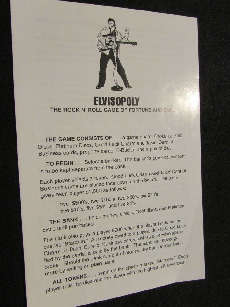 1995 Elvisopoly From Opoly Games N Things Instructions