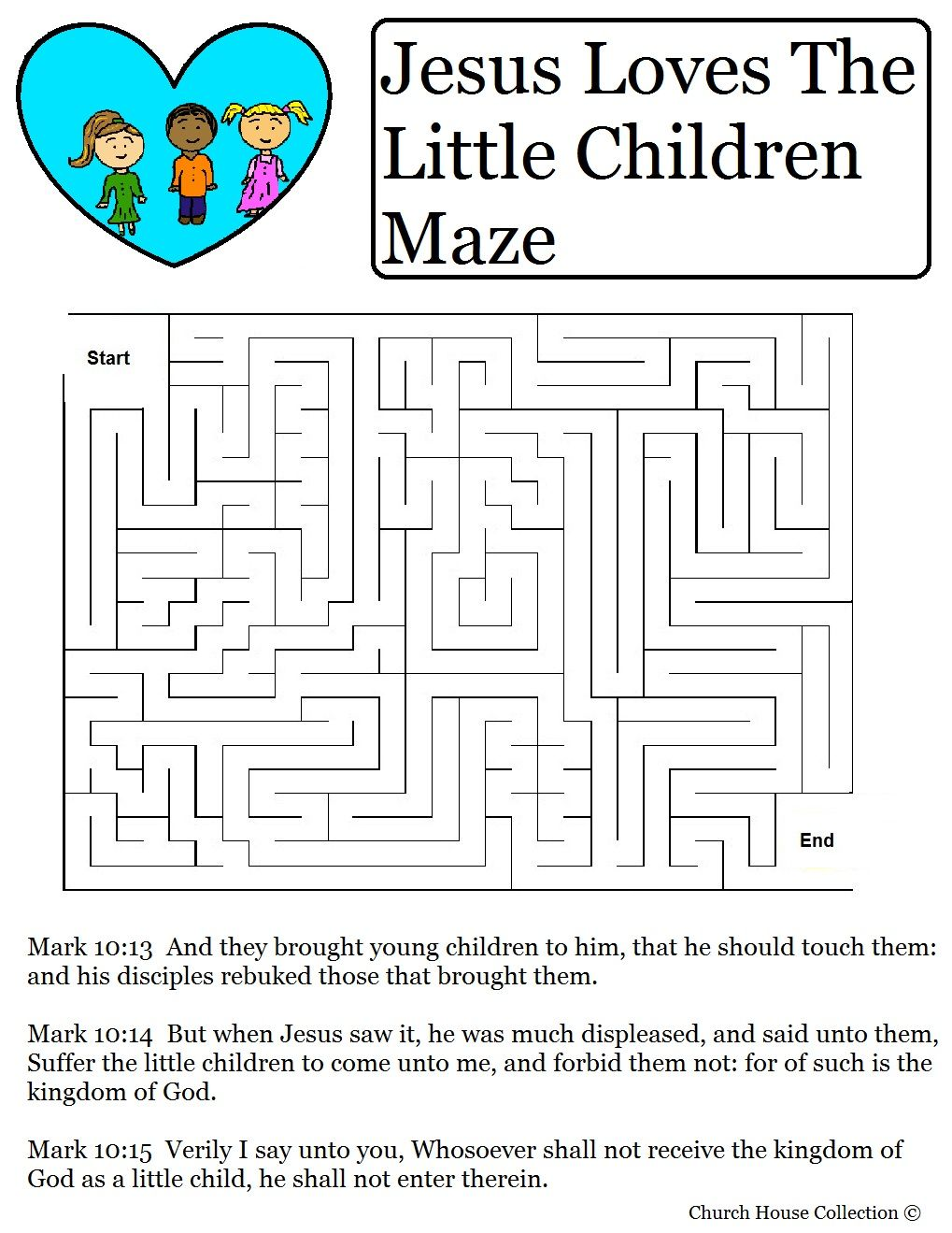 Free coloring pages jesus loves me - Jesus Loves The Little Children Maze For Valentine S