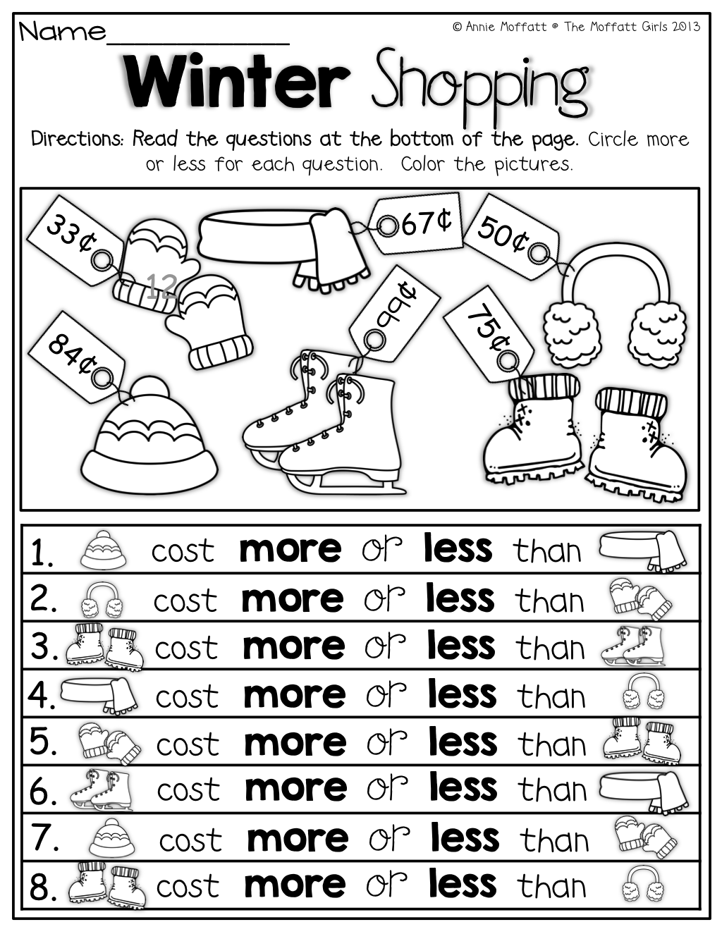 more or less comparing numbers 1st grade activities kindergarten math teaching money. Black Bedroom Furniture Sets. Home Design Ideas