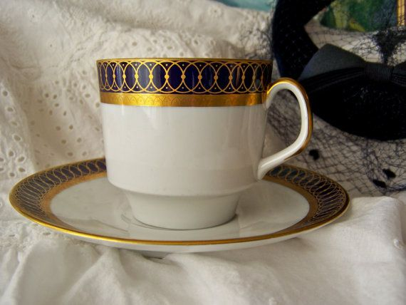Teacup and Saucer Echt Cobalt China by cynthiasattic on Etsy, $24.00