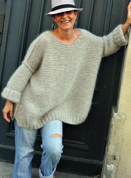 Women's Hand Knit Boatneck Oversized Sweater 69C W
