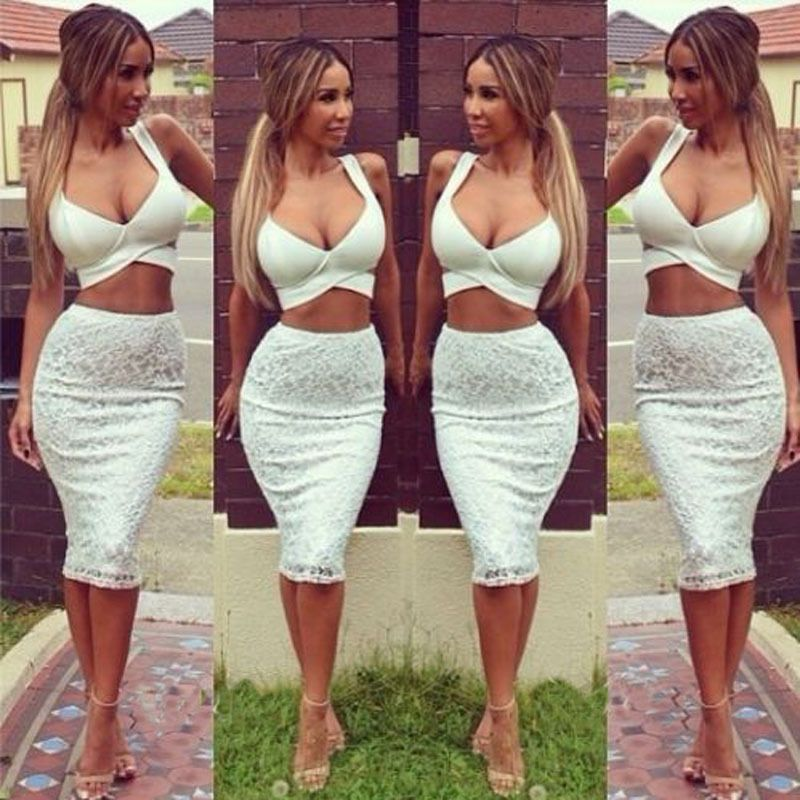 08c1876ed Sexy Womens Lace Two Piece Bodycon Crop Top Skirt Club Party Bodycon Dress  | eBay