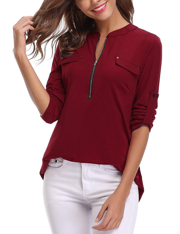 Women S V Neck Roll Up Long Sleeve Zip Up Casual Shirt Blouse Tops