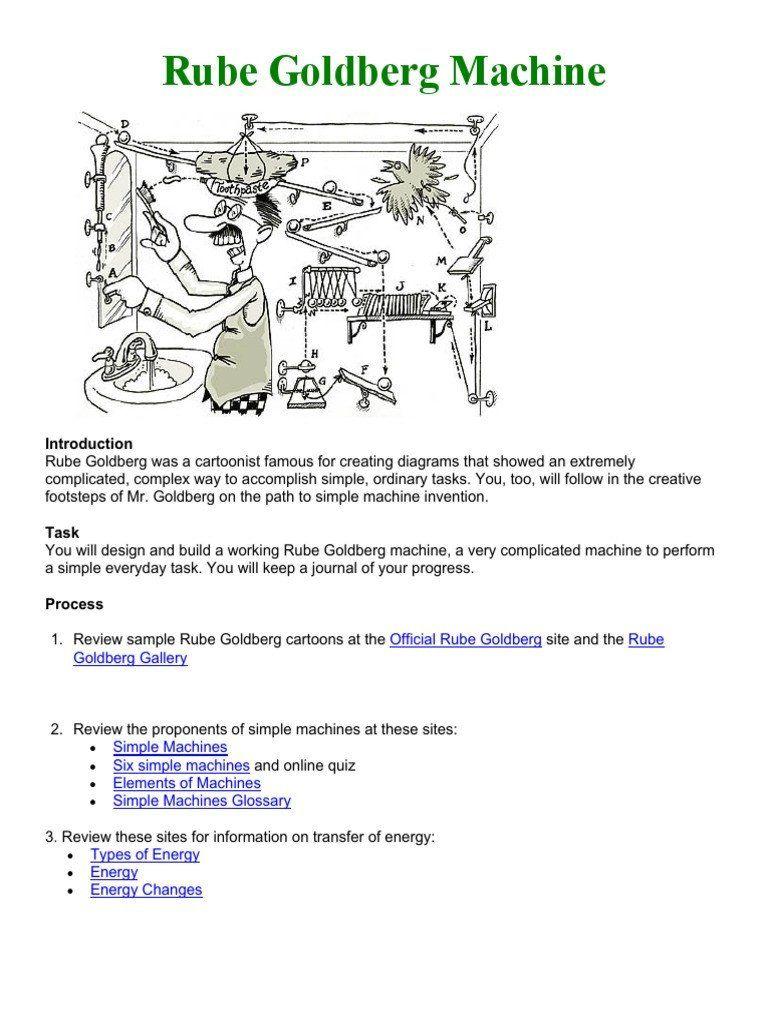 Rube Goldberg Cartoon Worksheet Rube Goldberg Assignment With Active Link Machi Kindergarten Addition Worksheets Super Teacher Worksheets Line Graph Worksheets