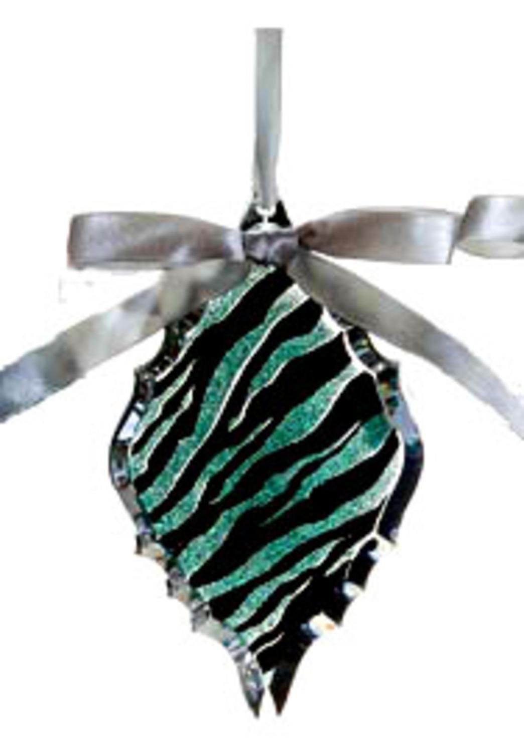 "5.75"" Glittered Teal Zebra Print Diamond Prism Christmas Ornament"