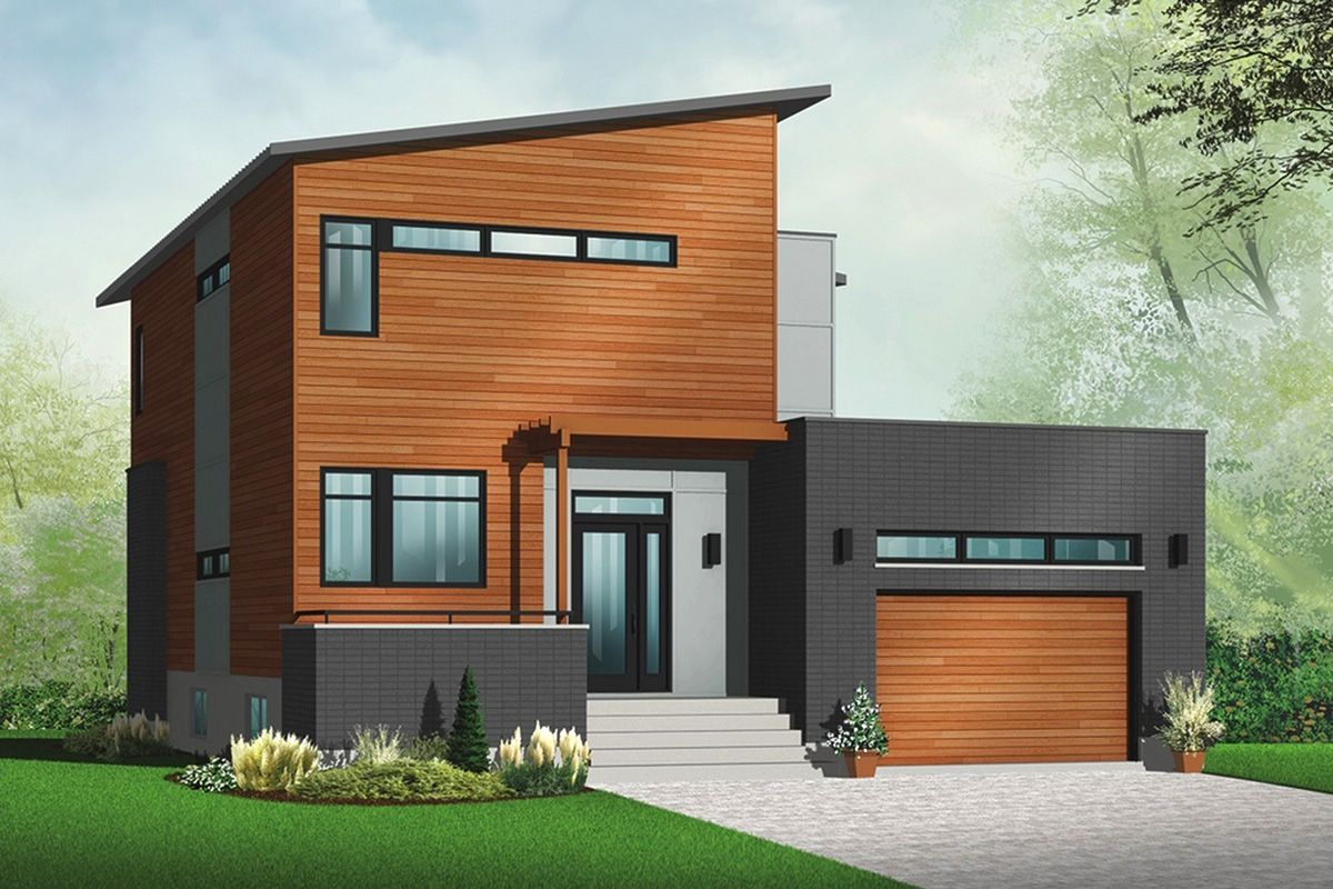 Foyer Electrique Modern Homes : Plan dr contemporary house with sunken foyer