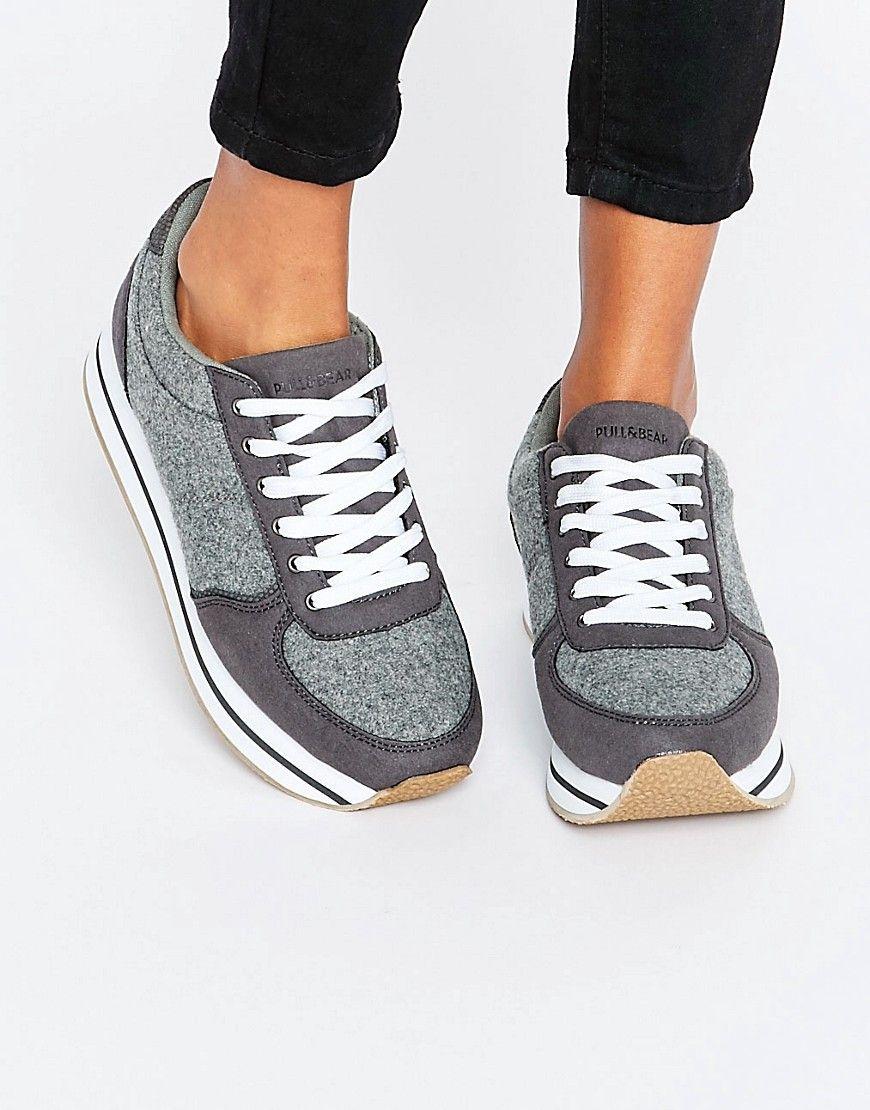 58d36567d227 Pull Bear Textured Color Block Sneaker