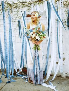 blue watercolor ribbon wedding backdrop / http://www.himisspuff.com/ribbon-wedding-ideas/9/